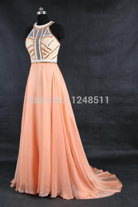 Prom Dresses long New Arrival O-Neck Ombre Dress Sleeveless cheap chiffon long evening dresses beaded
