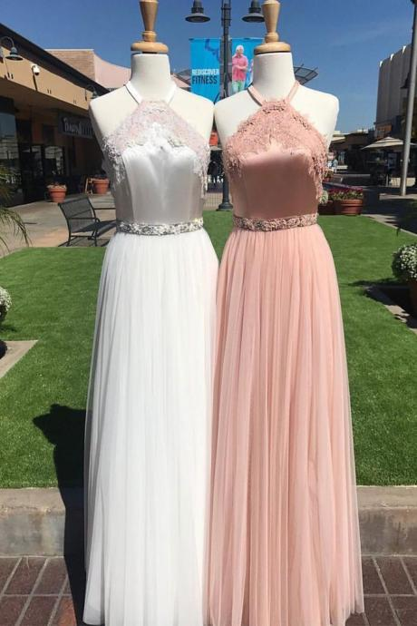 unique tulle lace long prom dress, lace evening dress for teens