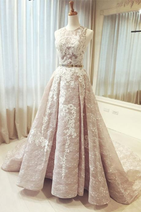 champagne round neck lace long prom dress, wedding dress
