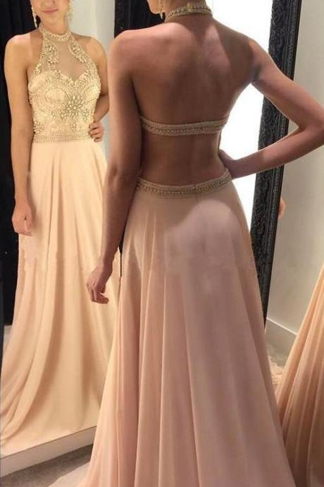 Light Pink Prom Dress,Halter Prom Dress,Chiffon Bridesmaid Dress,Long Evening Gowns