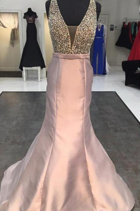 sexy v neck prom dress,satin formal dress,mermaid prom dress 2017,beaded mermaid evening gowns