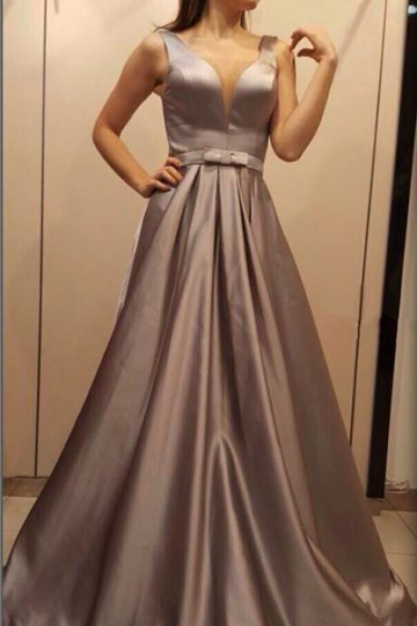 v neck evening gowns,long prom dress,silver bridesmaid dress,elegant formal dress