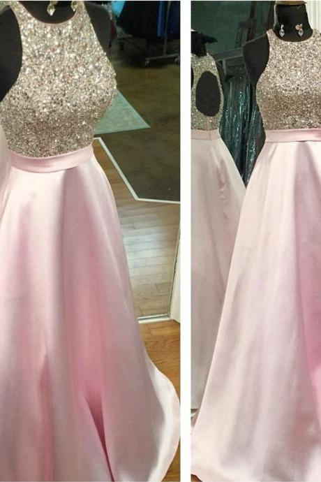 pink prom dress,halter prom dress,keyhole back prom dress,satin prom dress