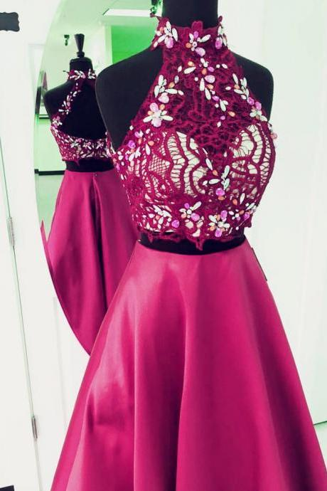 two piece LONG prom dress,2 piece prom gowns,elegant beaded prom dress,prom dress lace crop