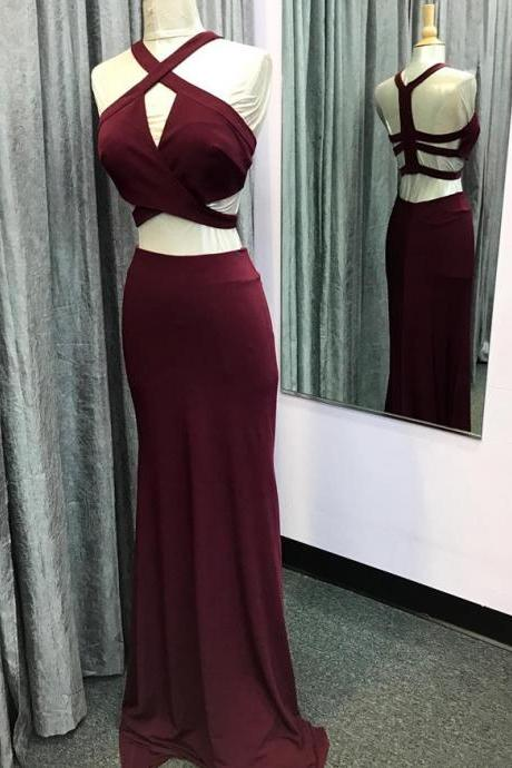 two piece prom dress,mermaid prom dress,burgundy prom dress,mermaid evening gowns,long party dresses