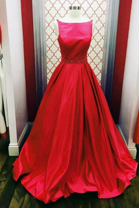 red ball gowns,scoop neck prom dress,simple dress,prom gowns 2018 elegant prom dress,puffy dress