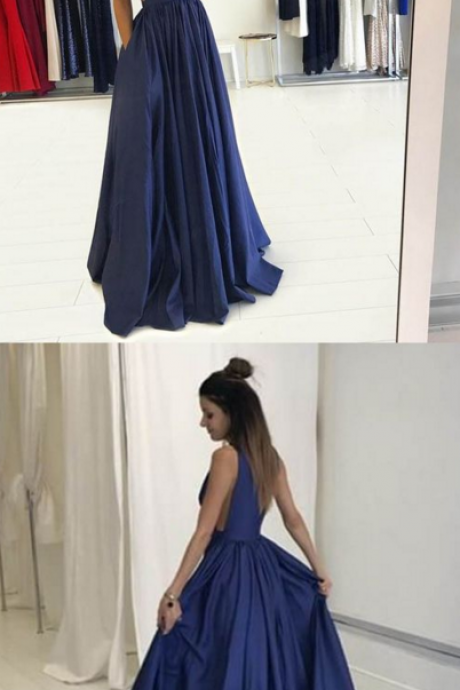 New Arrival Prom Dress,Navy Blue Prom Dresses,A Line Prom Dress, Simple V Neck Evening Dress, Long Prom Dress