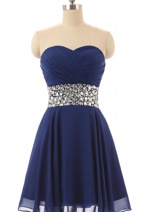 Chiffon Ruched Sweetheart Short A-Line Homecoming Dress Featuring Crystal Embellishments and Lace-Up Back, Formal Dress