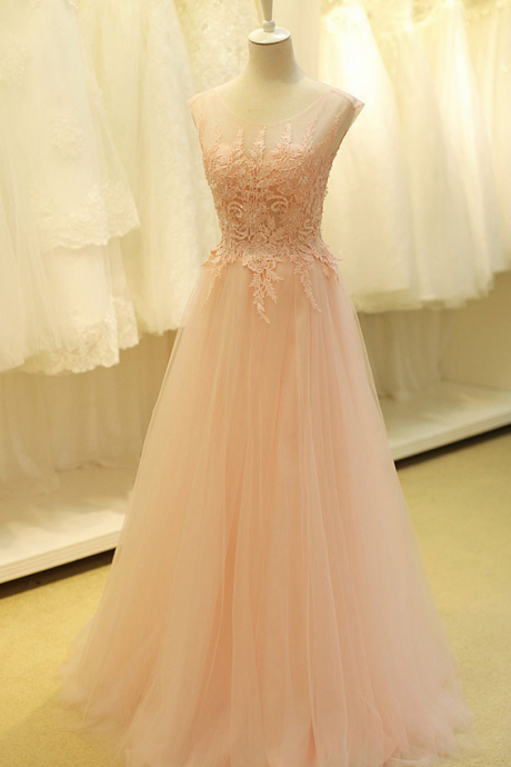 Pretty A-line Tulle Prom Dress Pink Beading And Appliques Backless Prom Dress Custom Made Evening Gowns