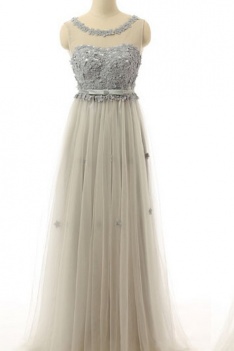 Grey Sheer Prom Dresses Long China Appliqued Tulle Formal Evening Gowns