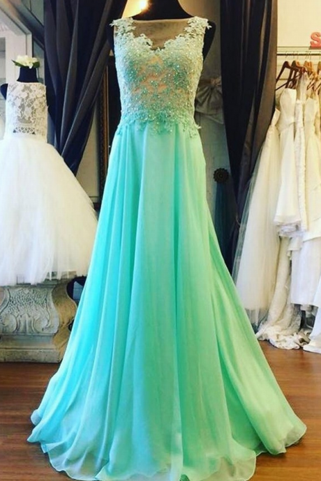 Long Chiffon Sage Prom Dress Applique Beading Sleeveless Prom Dress Evening Dress Party Dress
