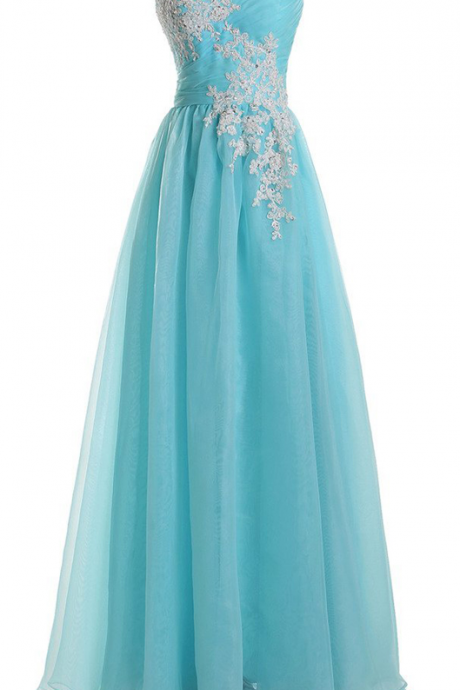 Elegant Appliques Tiffany Blue Organza Prom Dresses,Sweetheart Neck Sleeveless Floor Length Party Gowns