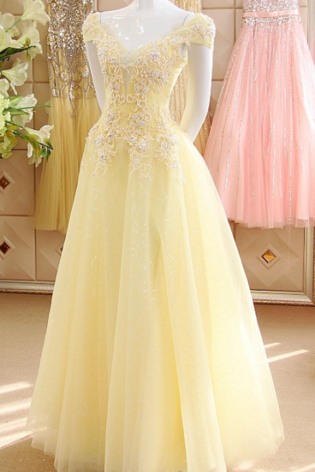 Pastel Yellow Cap Sleeves Sequined Tulle Prom Dresses,Sexy V Neck Beads Appliques Long Party Dresses