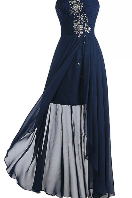 Dark Navy Over Skirts Chiffon Prom Dresses Beading Crystals Sleeveless Sweetheart Neck Long Party Gowns