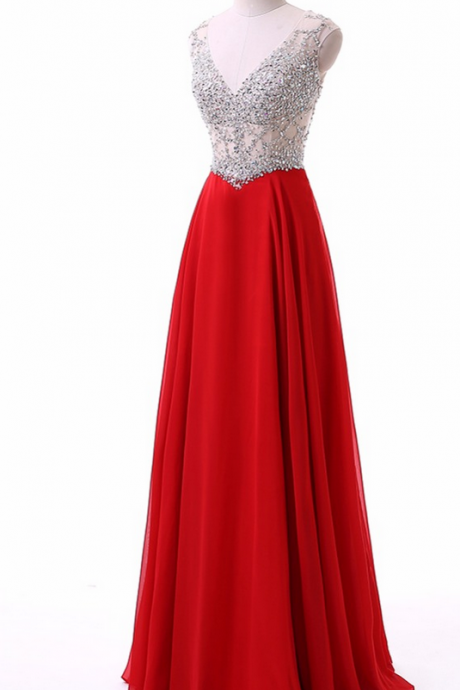 New Style Beading V Neck Robe De Soiree Long Red Evening Dresses