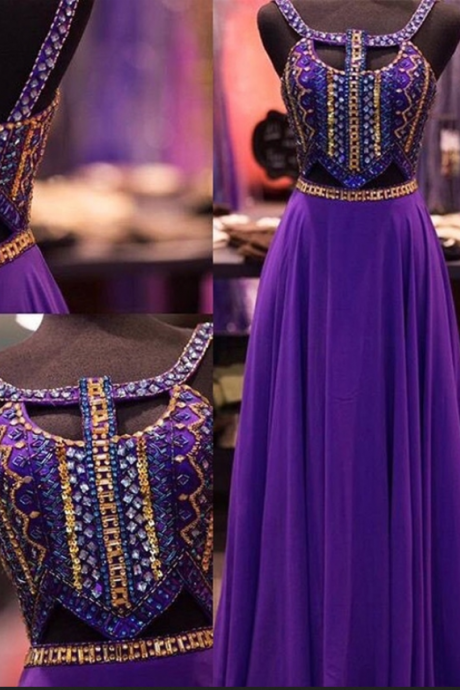 New Design Purple Beaded Prom Dresses,Open Back Prom Dress,Charming Evening Dresses