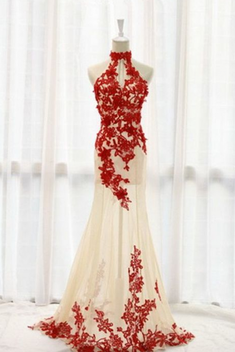 Charming Red Lace And Champagne Tulle Prom Dresses,Halter Prom Gowns,Elegant Prom Dress,Sparkly Party Prom Dresses