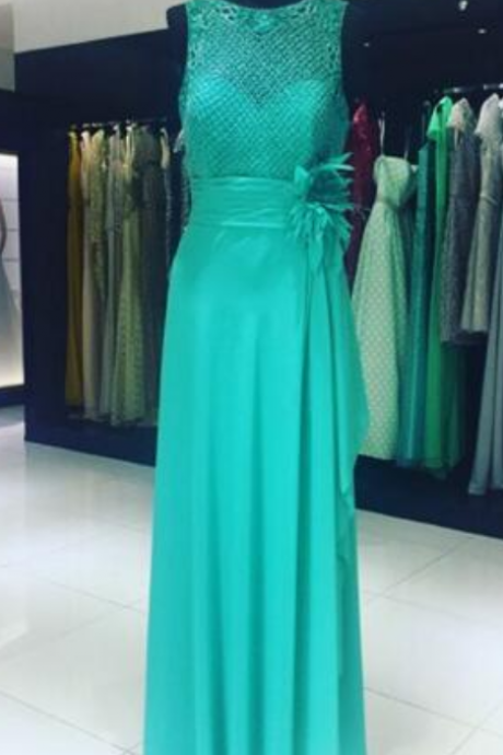 Splendido verde smeraldo prom dress O-Collo Pavimento-lunghezza Chiffon In Rilievo di Cristallo Prom Dresses dress per la laurea
