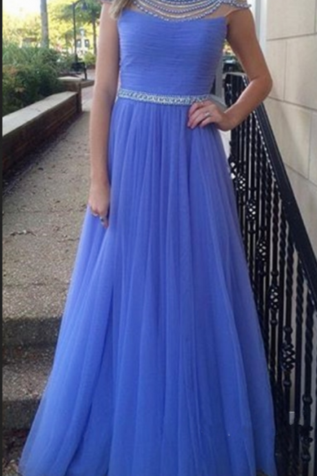 Elegant Prom Dress,Backless Prom Dress,Beaded Evening Formal Dress,Long Evening Gown