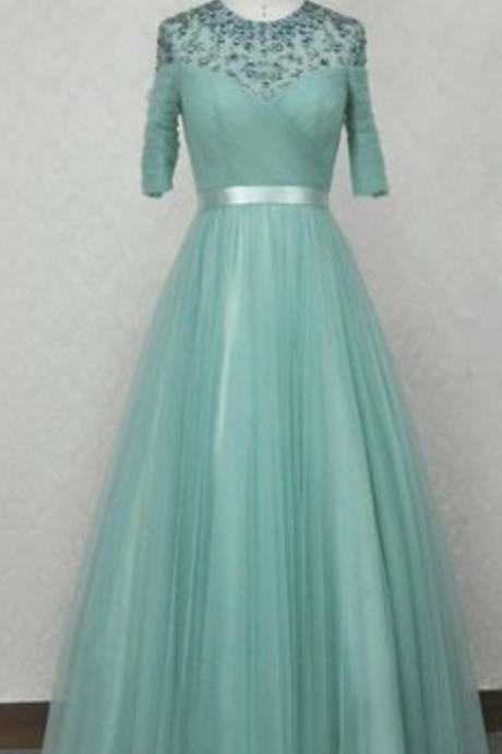 Sheer Beaded Ruched A-line Long Prom Dress, Evening Dress with Mid-Length Sleeves