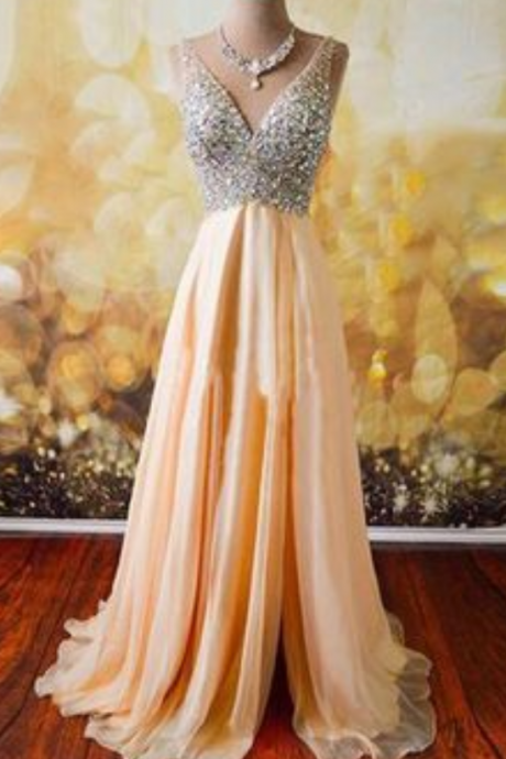 Sparkle V Neck Prom Dress with Slit