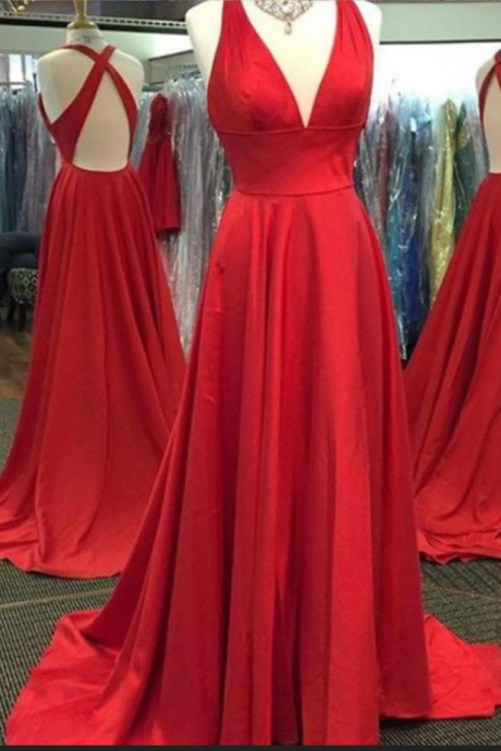 Custom Made Red V-Neckline Long A-Line Prom Dress
