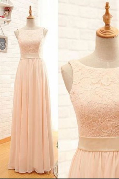 Blush Pink Sleeveless Lace and Chiffon A-Line Prom Dress, Bridesmaid Dress