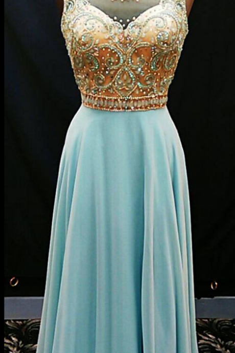 Sleeveless Sheer Beaded A-line Long Prom Dress, Evening Dress