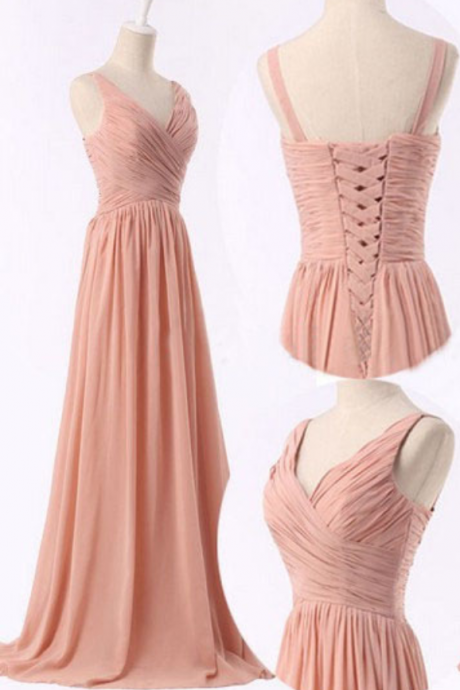 Blush Pink V-Neck A-Line Corset Bodice Chiffon Floor Length Ruched Prom Dress, Bridesmaid Dress