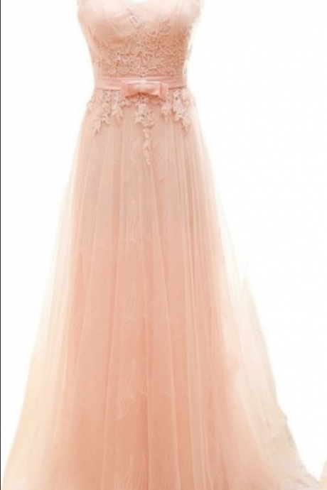Blush Pink V-Neckline Lace and Tulle A-Line Prom Dress, Bridesmaid Dress