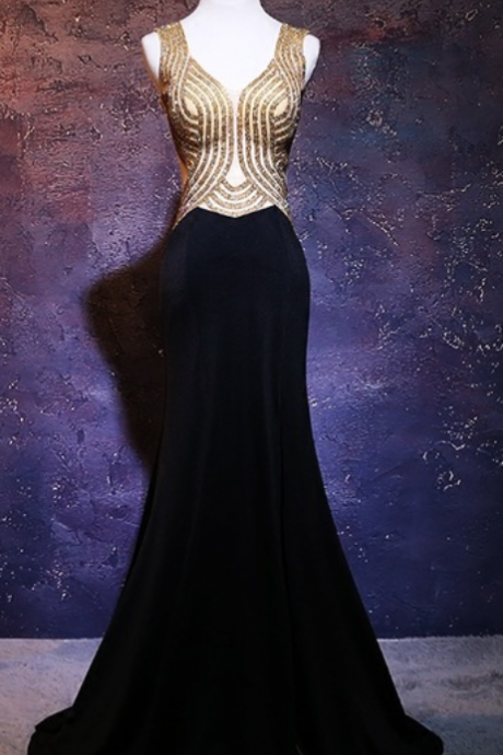 The long black sexy mermaid's evening dress ball gown the formal dress ball gown