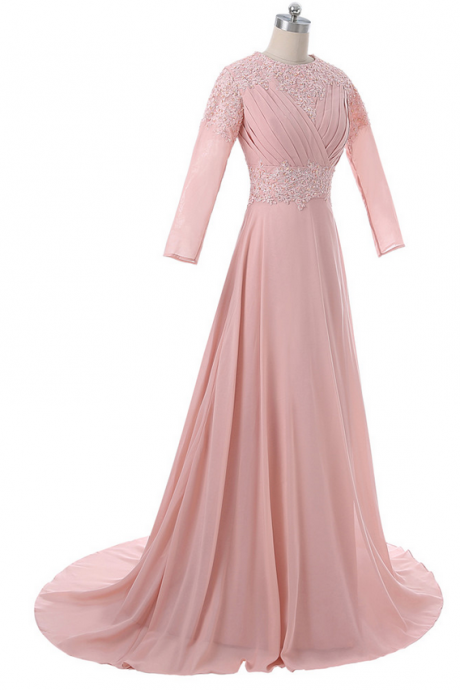 A Muslim evening dress with long sleeve chiffon lace dress with a long evening gown of a Saudi Arabian islamic gown
