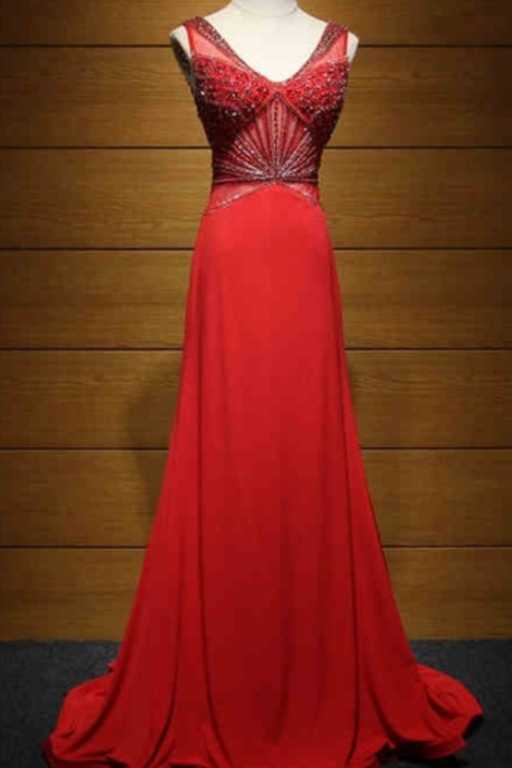 The evening dress of the party in the beautiful red long crystal line begins the evening dress of the formal dress ball