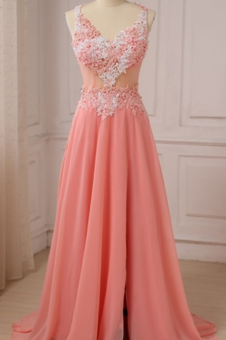 Arrive at the new applique v-neck chiffon evening dress ball gown with a sequined dress and a tailored evening gown
