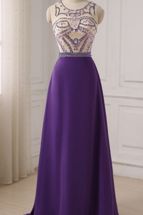 An elegant purple crystal dress with a long evening gown with a long evening gown