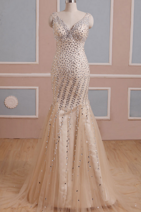 Pearly luster crystal, v-neck shirtless mermaid wedding dress, evening dress! Sleeveless perspective dress personalized party dress