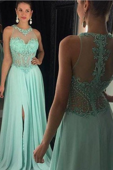 Prom Dresses Long O'neck Prom Dress - See Through Back with Side Slit