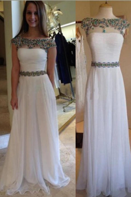 Prom Dresses Classic A-Line Bateau Floor Length Cap Sleeves White Prom Dress/Evening Dress with Sash