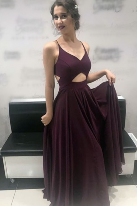Chic V Neck Cross Back Long Chiffon Prom Dresses Formal Evening Gowns