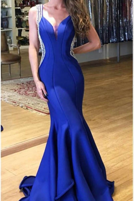 Prom Dresses,Mermaid Prom Dresses,Royal Blue Prom Dresses,Prom Gown,Strap Prom Dresses,Fashion Women Dresses,Formal Gown