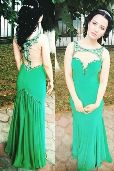 Beading Sheer Chiffon Prom Dresses Prom Gowns,Prom Dresses , Cheap Prom Dresses, Long Prom Dress