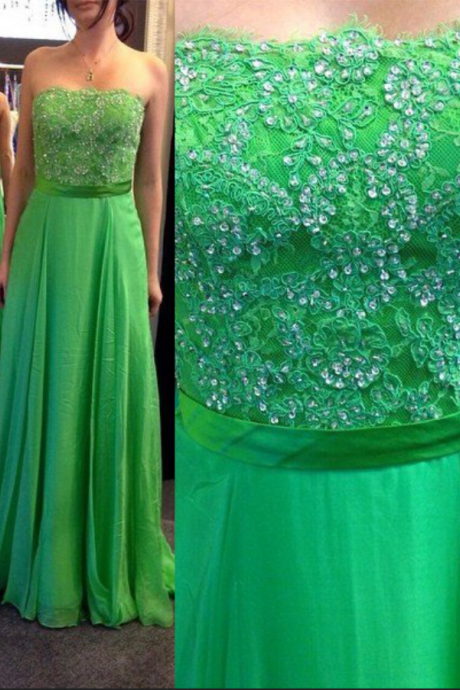Prom Dresses Strapless Long A-line Chiffon Prom Gowns,Prom Dresses , Cheap Prom Dresses, Long Prom Dress