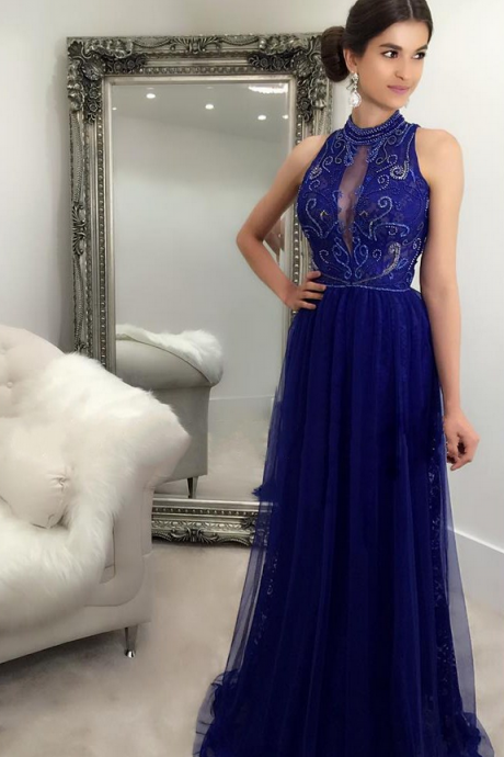 Tulle ball gown, sexy blue formal evening dress