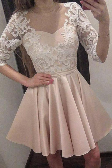 Gorgeous Champagne Satin Short Homecoming Dresses Sheer Neck Half Sleeves Appliques Lace Illusion Back Short Prom Dresses Party Dresses