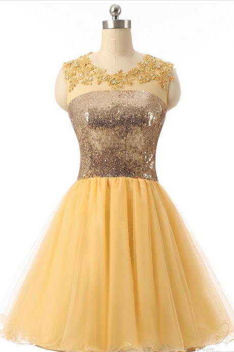 Top Quality 8th Grade Short Graduation Dresses Yellow Sequin Formal Dress Short Homecoming Dresses