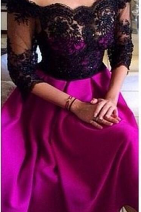 Black Lace Tea Length Prom Dresses with 3/4 Sleeve Arabic Off Shoulder Cheap Party homecoming Gowns Fuchsia Satin Formal Occasion Wear
