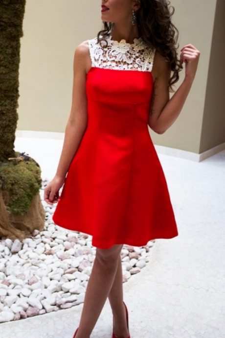Red Sleeveless High Neck Lace A Line Guest Wedding Dress, Maid of Honor Dress