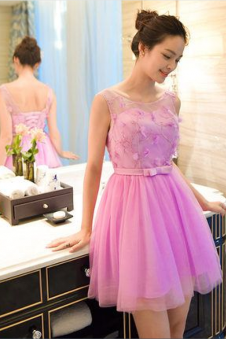 Lace lovely cheap homecoming dress, third grade homecoming dress, short ball gown,