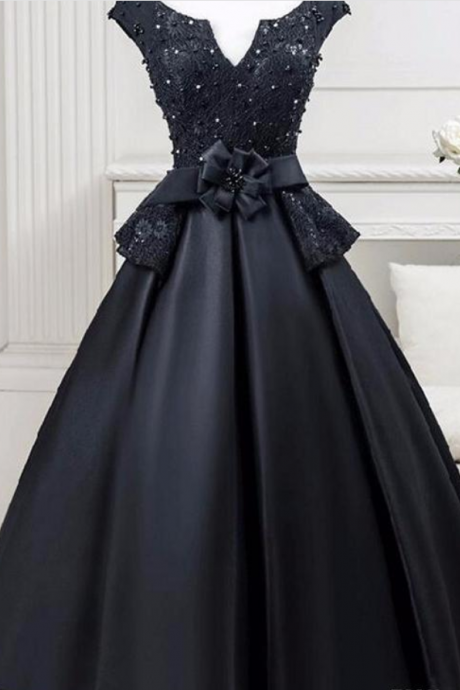 Cheap black short party cocktail dress, dark neck lace tea long satin ball gown, homecoming