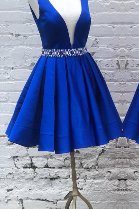 Beaded Waist Homecoming Dresses , Short Satin ,Homecoming Dresses